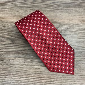 Geoffrey Beene Red w/ Black & White Polka Dot Tie
